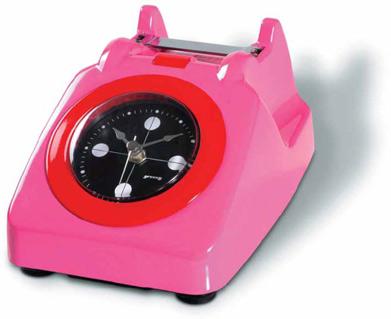 שעון המעוצב כטלפון וורוד